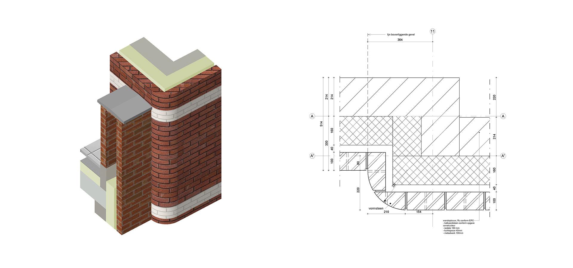 FARO architecten Winkelcentrum Westlede Tiel Detail