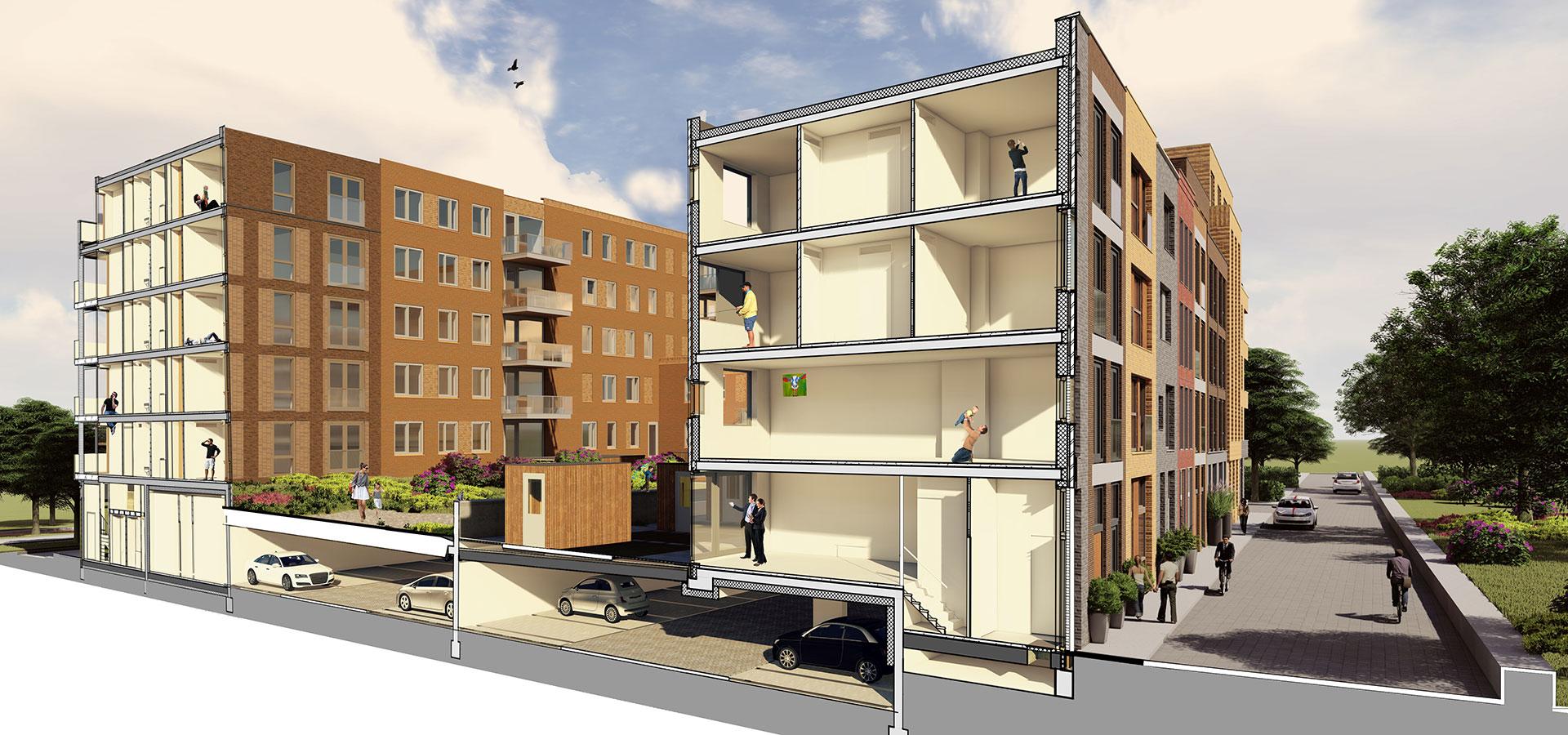 FARO architectenvan Leeuwenhoekkwartier Delft 3D doorsnede